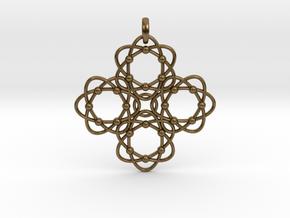 Pendant  Holy Cross Einstein in Interlocking Raw Bronze