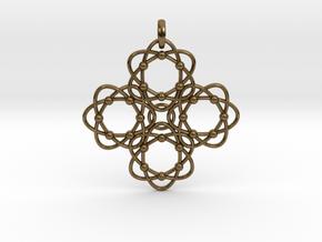 Pendant  Holy Cross Einstein in Interlocking Polished Bronze