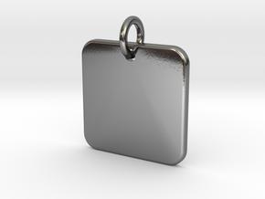 Square Nickel Size Pendant in Interlocking Polished Silver