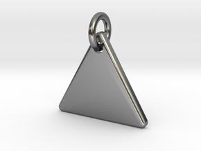 Triangle Nickel Size Pendant in Interlocking Polished Silver