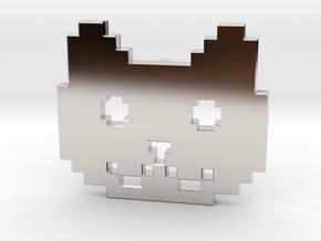 Retro Pixel Cat Pendant in Rhodium Plated Brass