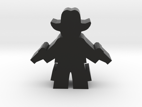 Game Piece, Cowboy, Standing Two Pistols in Black Natural Versatile Plastic