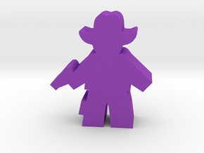 Game Piece, Cowboy, Standing One Pistol in Purple Processed Versatile Plastic