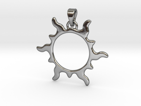 Sun Flare Pendant in Polished Silver (Interlocking Parts)