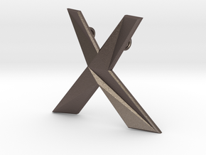Distorted letter X in Polished Bronzed Silver Steel