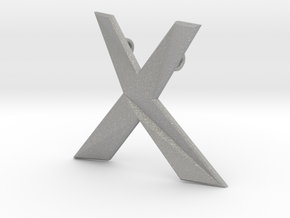 Distorted letter X in Aluminum
