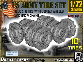 1-72 Military 600x16 Tire Snow Chain Set3 in Smooth Fine Detail Plastic