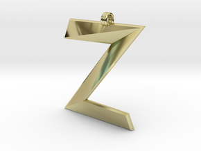 Distorted letter Z in 18k Gold Plated Brass