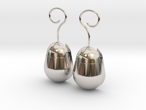 Mouse SD Card Holder Earrings (Rounded) in Rhodium Plated Brass