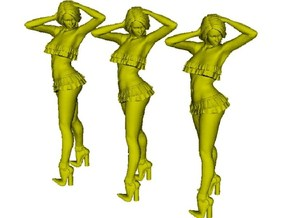 1/18 scale nose-art striptease dancer figure A x 3 in Smooth Fine Detail Plastic