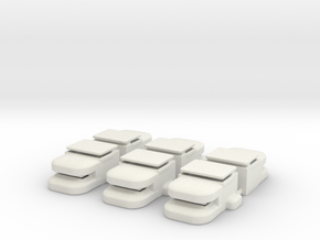 Heavy Bunker Set of (6) in White Natural Versatile Plastic