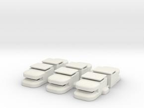 Heavy Bunker Set of (6) in White Natural Versatile Plastic