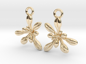 Arabidopsis Rosette Earrings  in 14k Gold Plated Brass