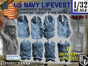 1-32 USN Hanged Kapok Lifevest Set1 in White Strong & Flexible