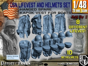 1-48 USN Hanged Lifevest And Helmets Set2 in Smooth Fine Detail Plastic