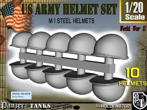 1-20 US M1 Helmets Set1 in White Natural Versatile Plastic