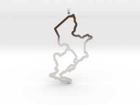 Ijsselmeer Nautical Chart Pendant in Rhodium Plated Brass