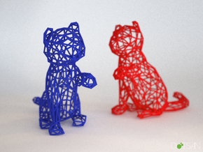 3D Wire Kitten (Not Exploding Kittens) in White Natural Versatile Plastic