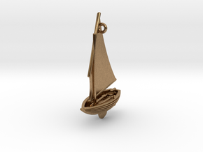 Small Old Sailing Boat Pendant in Natural Brass