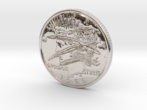 Two Faced Silver Dollar with scars - Smooth in Rhodium Plated Brass