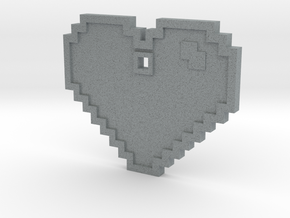 Pixel Art Heart Pendant in Polished Metallic Plastic