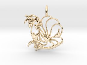 Ninetales Pendant in 14k Gold Plated Brass