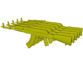 1/48 scale Avtomat Kalashnikova AK-47 rifles x 5 in Smoothest Fine Detail Plastic