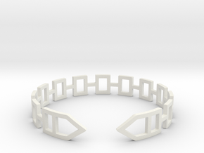 2D Houses  Bracelet Medium Size D=65mm in White Natural Versatile Plastic: Medium