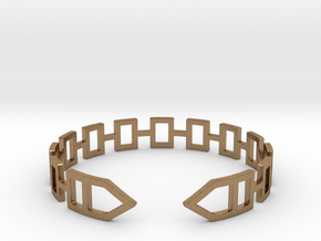 2D Houses  Bracelet Medium Size D=65mm in Natural Brass: Medium