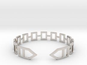 2D Houses  Bracelet Medium Size D=65mm in Rhodium Plated Brass: Medium