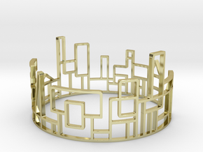 SKYLINE Bracelet Medium Size D=65mm in 18k Gold Plated Brass: Medium