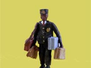 O Railroad Porter w Luggage Figure in Frosted Ultra Detail