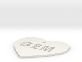 """Heart Name Tag Large (2.5"""") in White Natural Versatile Plastic"""