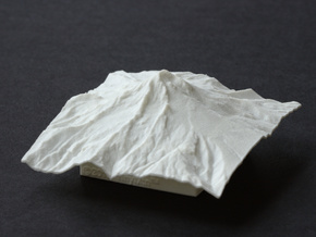 3'' Mt. Hood Terrain Model, Oregon, USA in White Natural Versatile Plastic