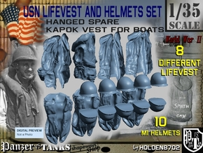 1-35 USN Hanged Lifevest And Helmets Set2 in Frosted Ultra Detail
