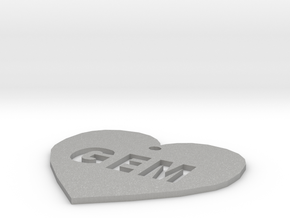 "Heart Name Tag Medium (2"") in Aluminum"