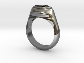 Flower Stamp Ring in Polished Silver: 10 / 61.5