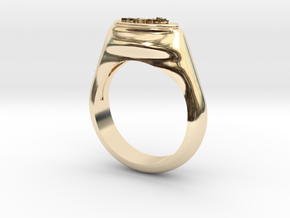 Flower Stamp Ring in 14K Yellow Gold: 10 / 61.5