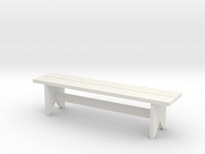 Bench, Simple Wooden, 1/32 Scale in White Natural Versatile Plastic