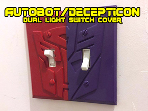 Transformers Faction Symbol Dual Switch Plate in White Natural Versatile Plastic