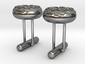 Doughnut Cufflink Pair in Polished Silver
