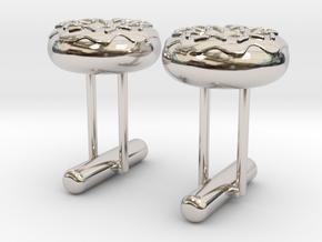 Doughnut Cufflink Pair in Rhodium Plated Brass
