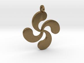 Lauburu pendant in Natural Bronze