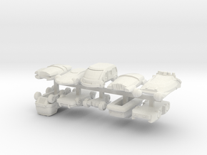 6mm Futuristic Civilian Cars (10pcs) in White Natural Versatile Plastic