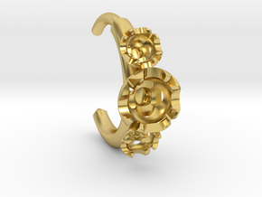 Stone setting hoop earring in Polished Brass