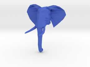 African Elephant Head in Blue Processed Versatile Plastic