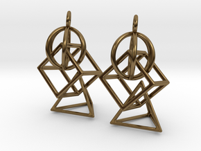 3 Parts Interlocking Swing Earrings in Polished Bronze (Interlocking Parts)