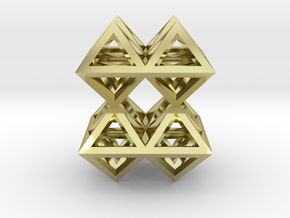88 Pendant. Perfect Pyramid Structure. in 18k Gold Plated Brass