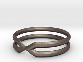 Double Ring in Polished Bronzed Silver Steel: 7.5 / 55.5