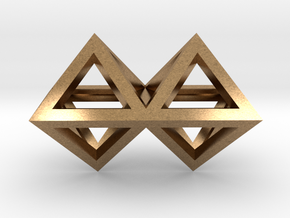 4 Pendant. Perfect Pyramid Structure. in Natural Brass
